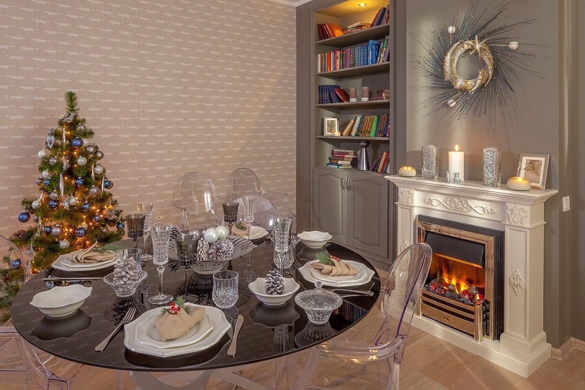 Кухня/столовая в  цветах:   Бежевый, Коричневый, Светло-серый, Серый, Темно-коричневый.  Кухня/столовая в  стиле:   Эклектика.