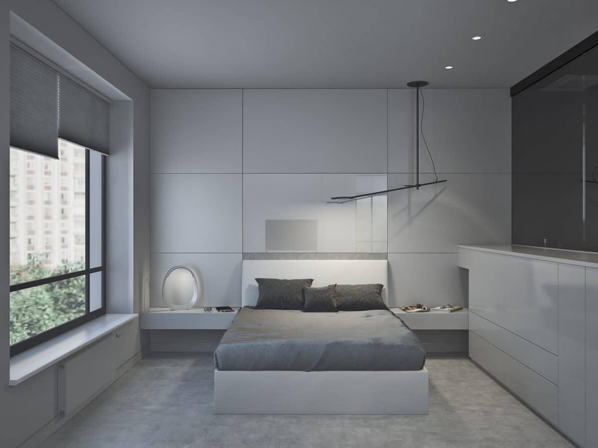 Спальня в  цветах:   Светло-серый, Серый, Черный.  Спальня в  стиле:   Неоклассика.