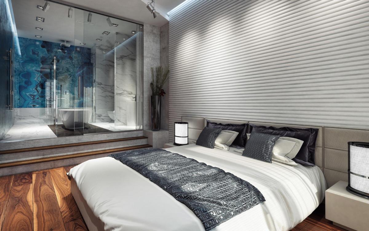 Спальня в  цветах:   Бежевый, Бордовый, Коричневый, Светло-серый, Синий.  Спальня в  стиле:   Лофт.