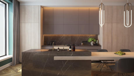 Кухня/столовая в  цветах:   Светло-серый, Коричневый, Темно-коричневый, Бежевый, Голубой.  Кухня/столовая в  стиле:   Минимализм.