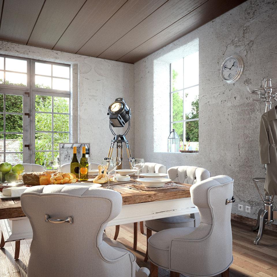 Кухня/столовая в  цветах:   Бежевый, Светло-серый, Темно-коричневый.  Кухня/столовая в  стиле:   Лофт.