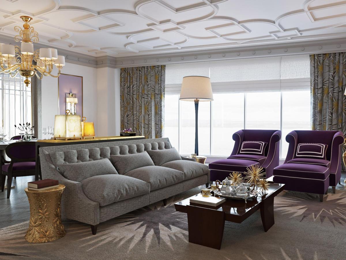 Гостиная в  цветах:   Бежевый, Коричневый, Светло-серый, Темно-коричневый, Фиолетовый.  Гостиная в  стиле:   Неоклассика.