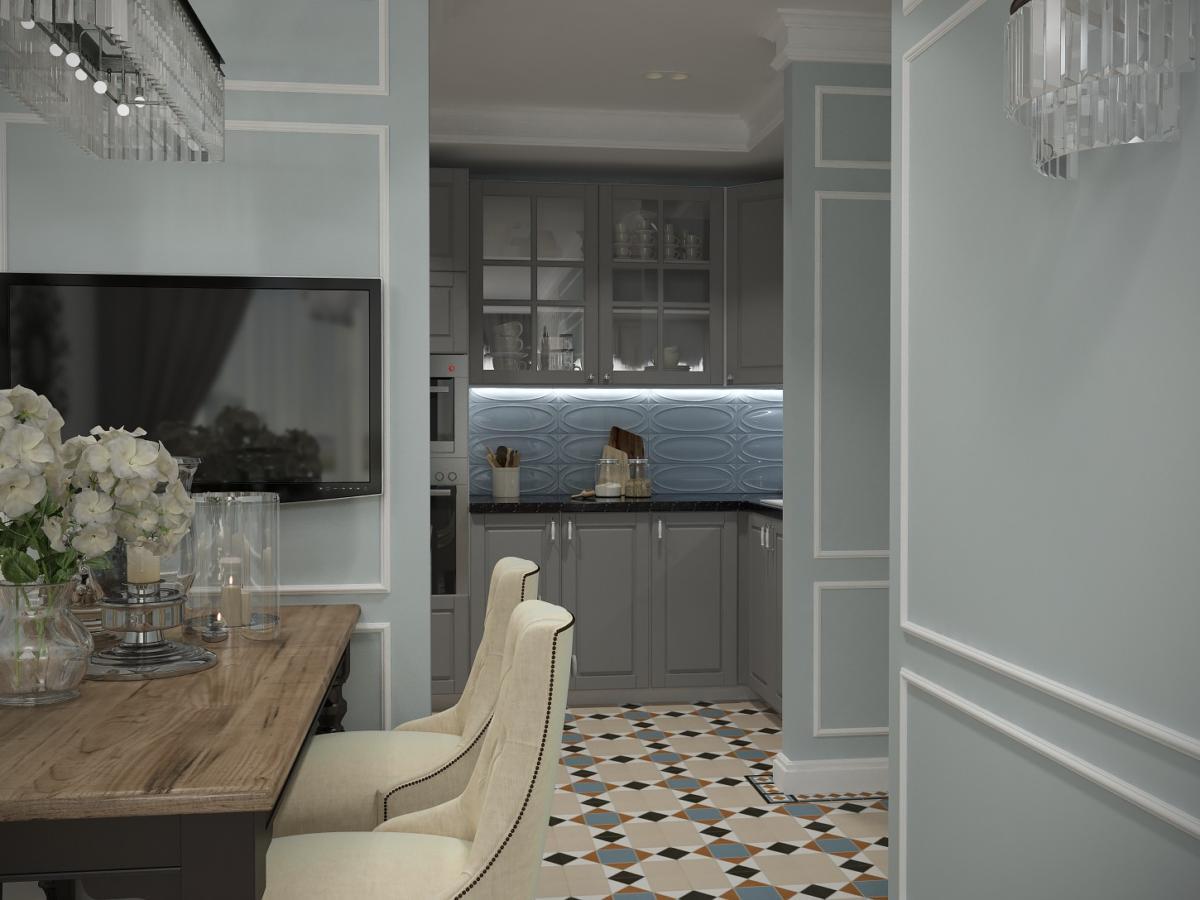 Кухня/столовая в  цветах:   Бежевый, Голубой, Светло-серый, Серый, Темно-коричневый.  Кухня/столовая в  стиле:   Неоклассика.