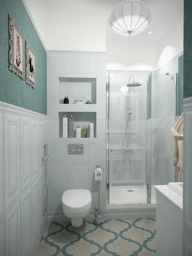 Ванная в  цветах:   Голубой, Светло-серый, Темно-зеленый.  Ванная в  стиле:   Неоклассика.