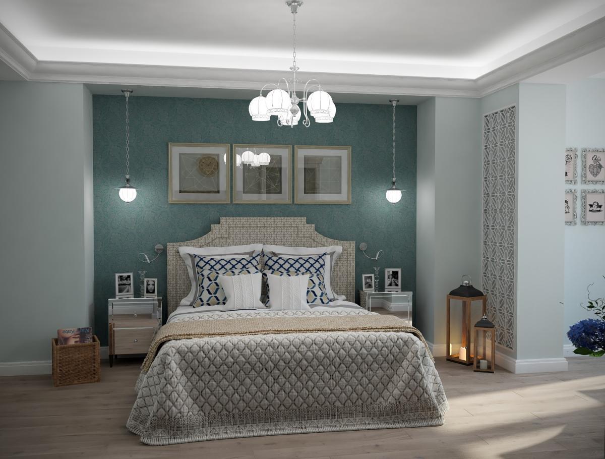 Спальня в  цветах:   Бирюзовый, Светло-серый, Серый, Синий.  Спальня в  стиле:   Неоклассика.