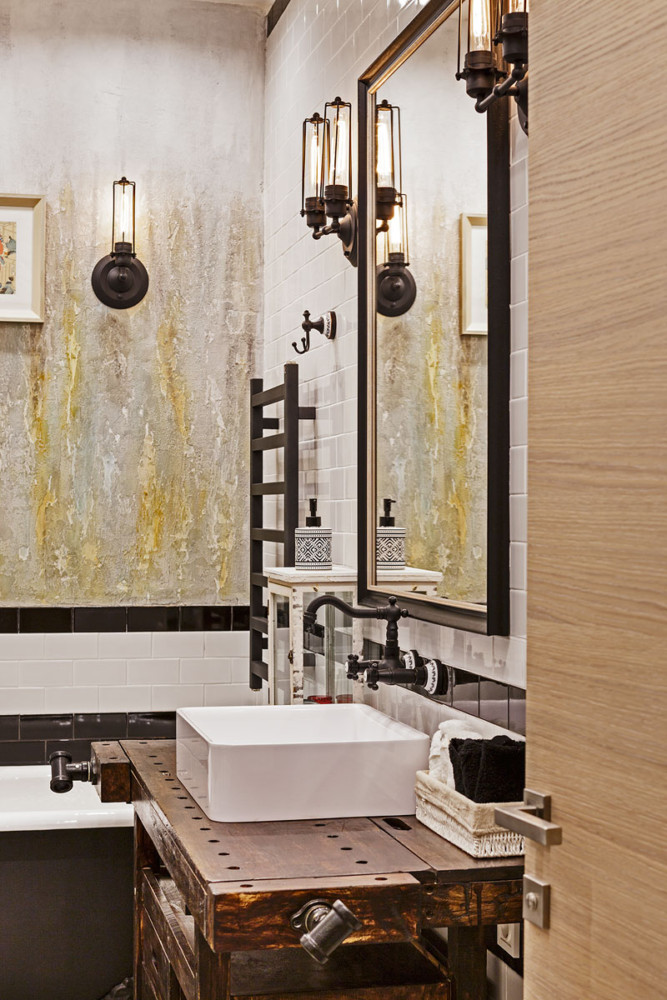 Ванная в  цветах:   Бежевый, Коричневый, Светло-серый, Темно-коричневый.  Ванная в  стиле:   Лофт.