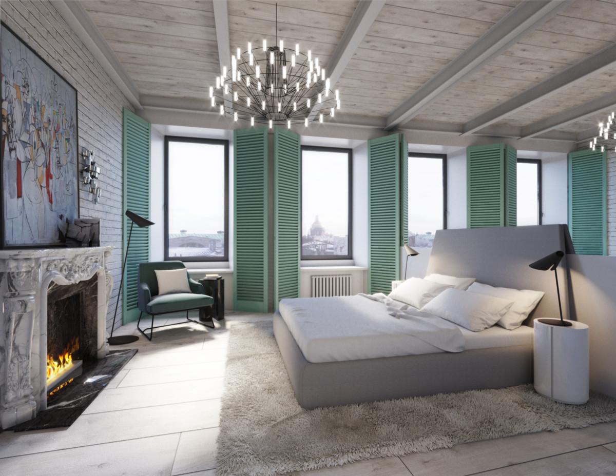 Спальня в  .  Спальня в  стиле:   Лофт.