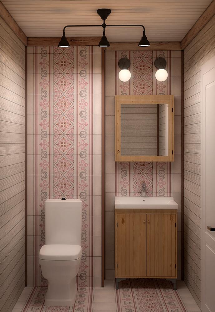 Ванная в  цветах:   Коричневый, Оранжевый, Розовый, Темно-коричневый.  Ванная в  стиле:   Минимализм.