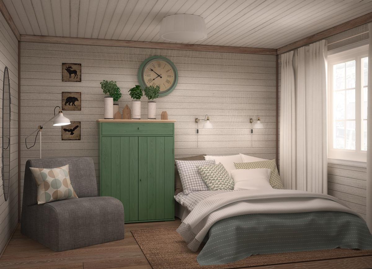 Спальня в  цветах:   Бежевый, Розовый, Темно-коричневый.  Спальня в  стиле:   Кантри.
