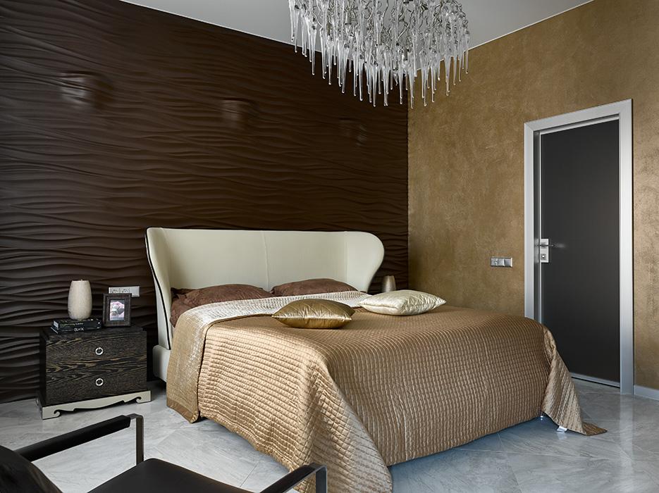 Спальня в  цветах:   Бежевый, Бирюзовый, Зеленый, Темно-коричневый.  Спальня в  стиле:   Минимализм.