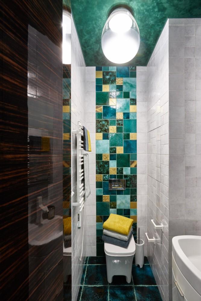 Ванная в  цветах:   Бежевый, Бирюзовый, Голубой, Темно-зеленый.  Ванная в  стиле:   Минимализм.