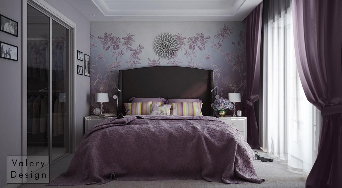 Монохромная гамма фона с контрастной мебелью, фактуры, обои омбре, освещение — всё служит для расширения пространства.