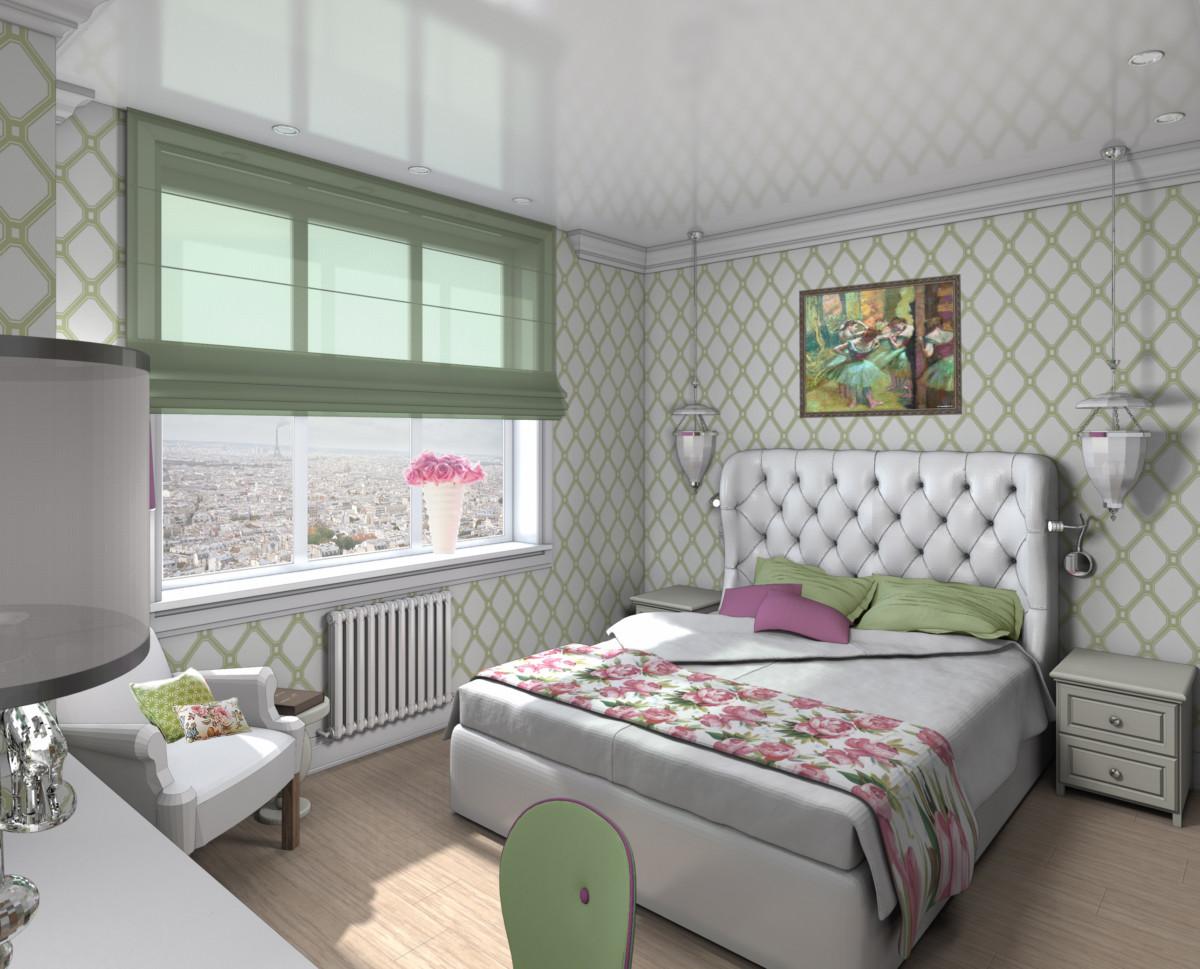 Спальня в квартире в ЖК «Дирижабль». Квартира была однокомнатная, из неё сделали трёхкомнатную с просторной светлой спальней.