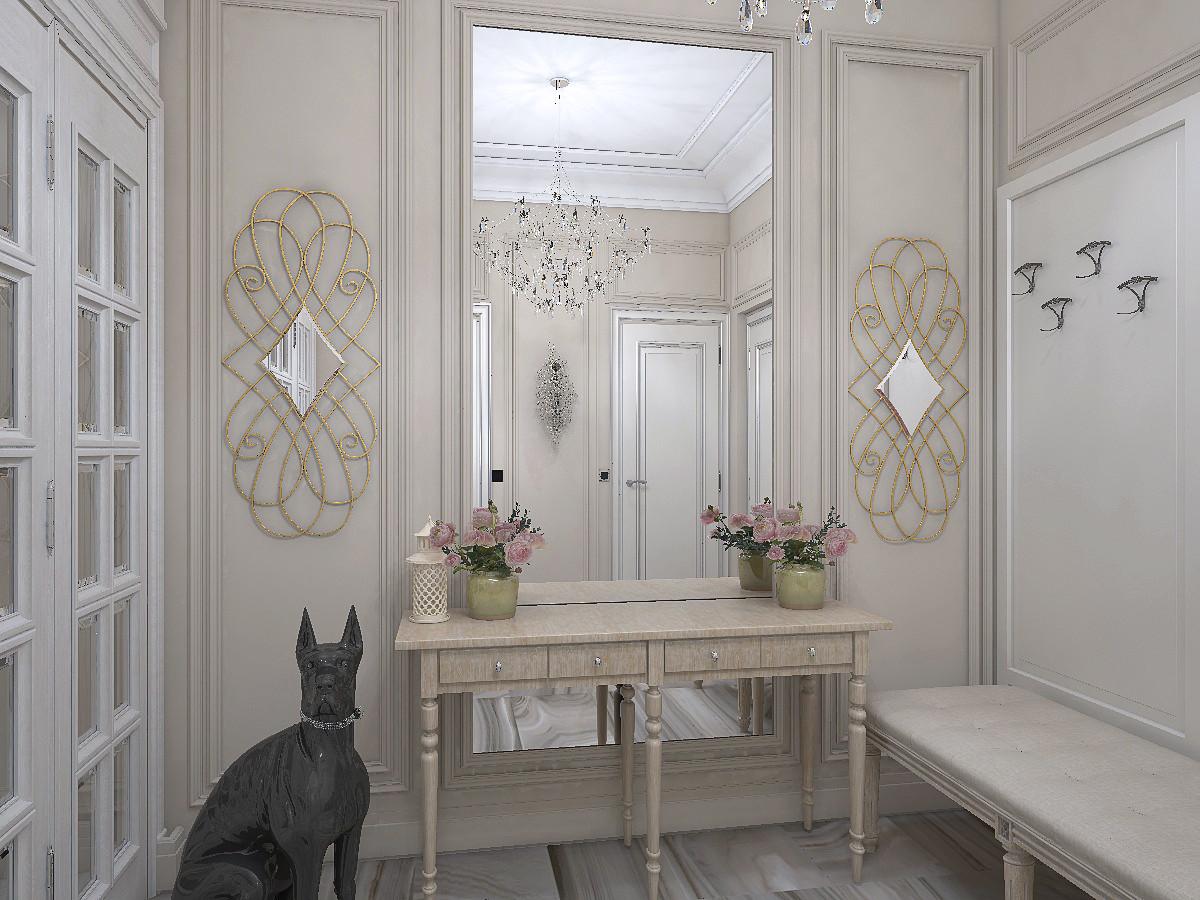 В обрамлении гипсовой лепнины расположили зеркало. Симметрично по сторонам —декоративные зеркала в золотых рамах.