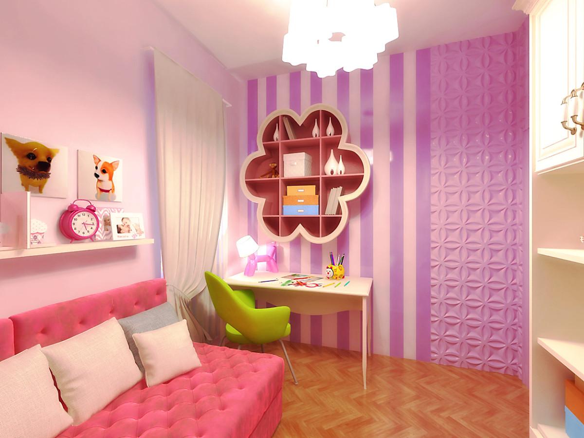 Можно реализовывать самые смелые решения и весёлые задумки. В помещении активно использовали розовый цвет.