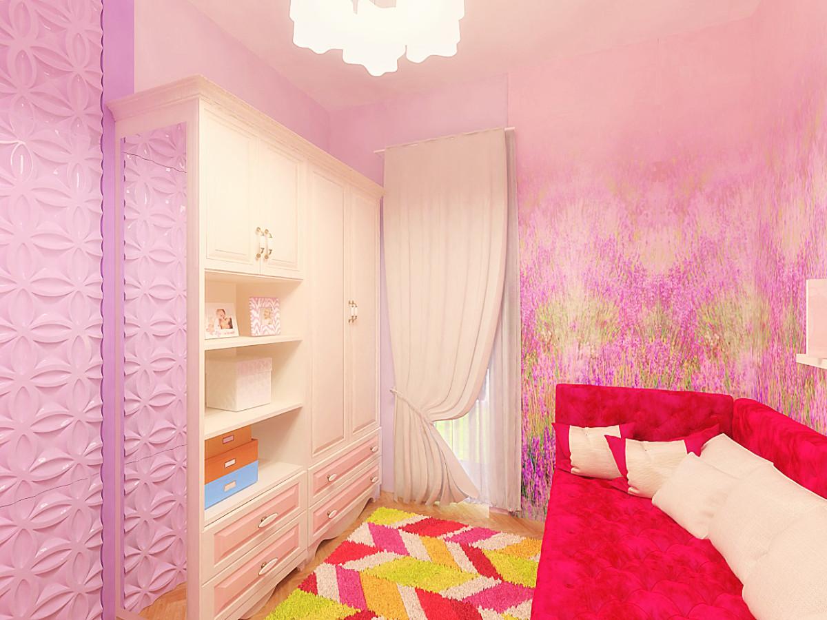 Панно с полевыми цветами в розовой гамме украсило диванную зону детской.