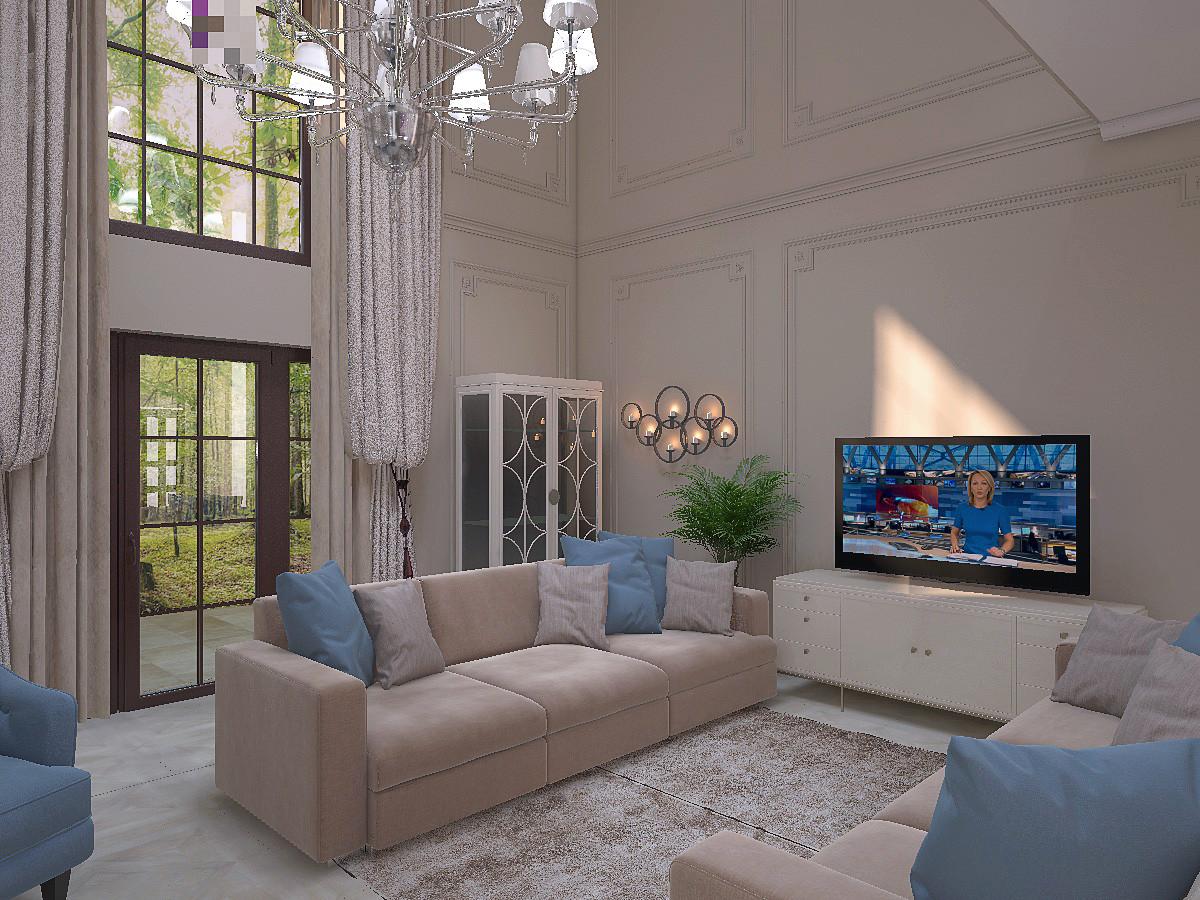 По обе стороны от окна расположили декоративные стеллажи. В центре гостиной —  диванная зона с акцентными по цвету подушками.