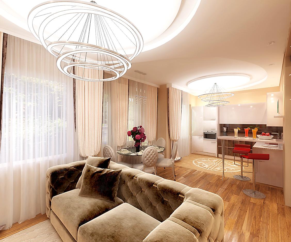 Две зоны, гостиная и кухня, выделены фигурным потолком и подвесными светильниками.