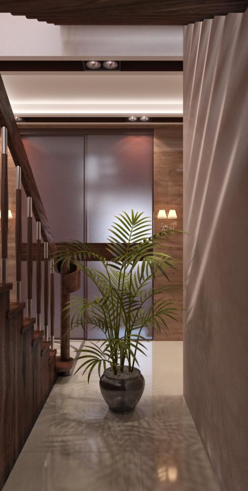 Раздвижные высокие двери из матового стекла отделяют гостиную от холла. Высота дверей — 3 м.