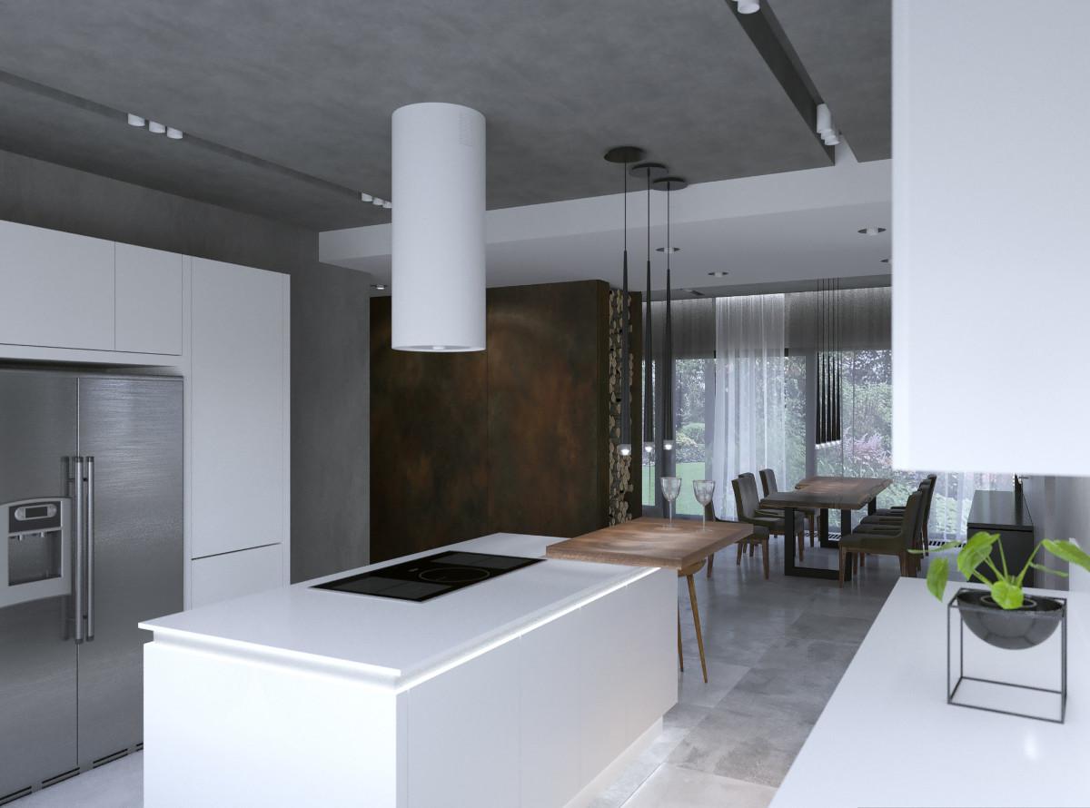 Сочетание матовых белых поверхностей с графитным потолком с микроцементом и деревянными поверхностями.