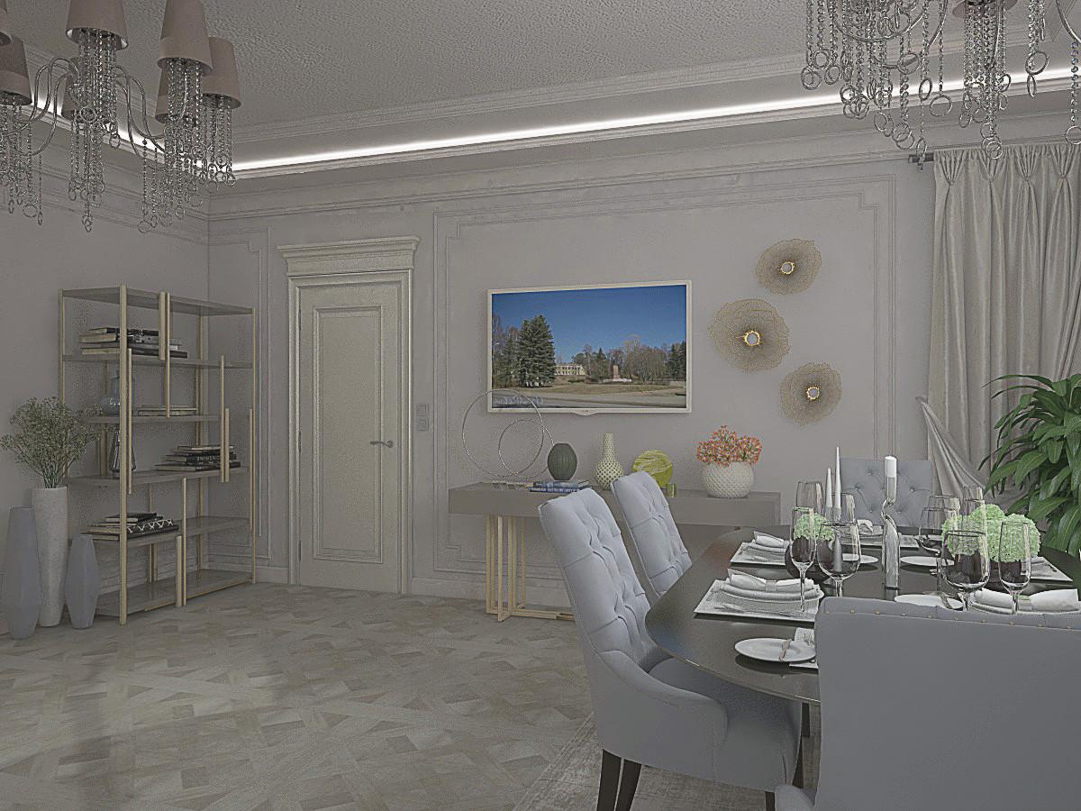 В интерьере кухни использовали на стенах в качестве декора гипсовую лепнину и декоративное панно.