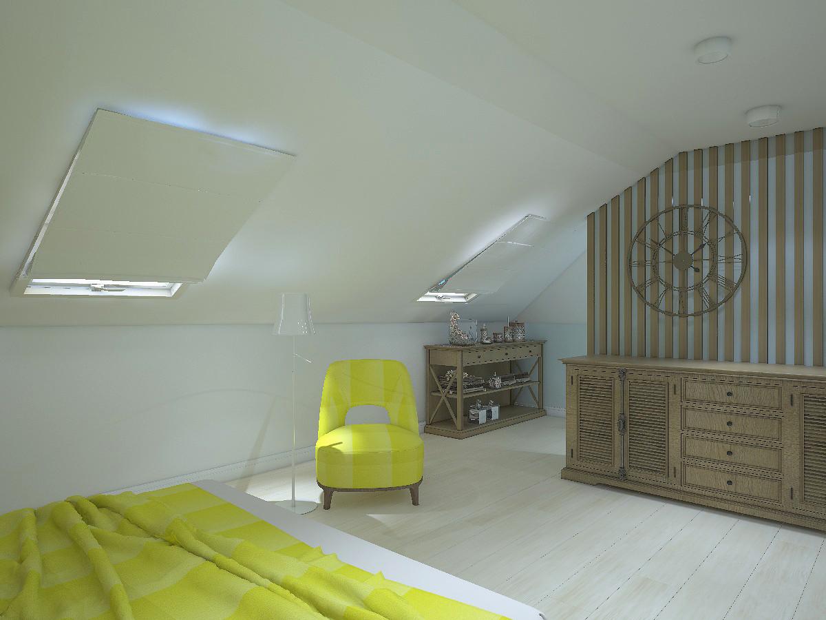 Спальня находится на южной стороне. Поэтому цветовую гамму выбрали прохладную.