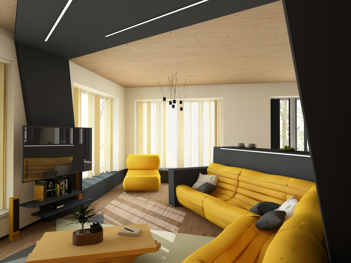 Гостиная в  цветах:   Бежевый, Лимонный, Темно-коричневый.  Гостиная в  стиле:   Минимализм.