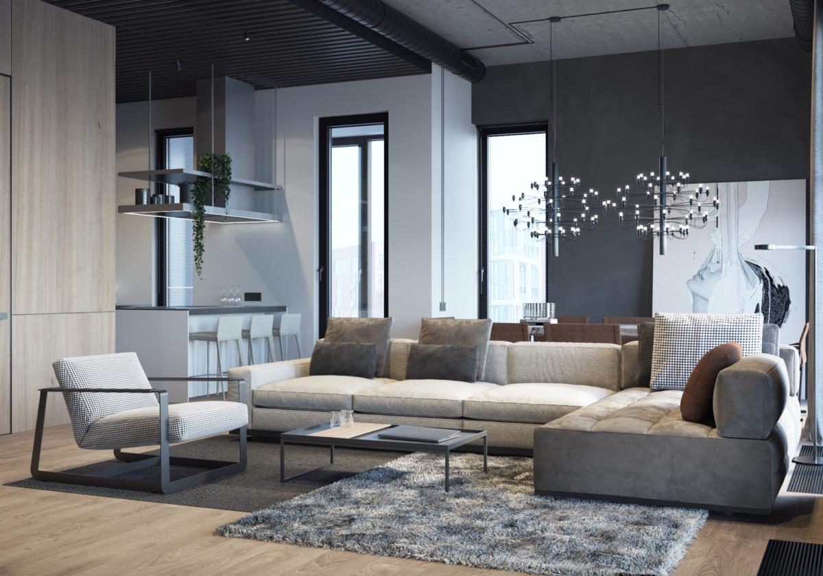 Дизайн интерьера в стиле лофт: трёхкомнатная квартира в Москве