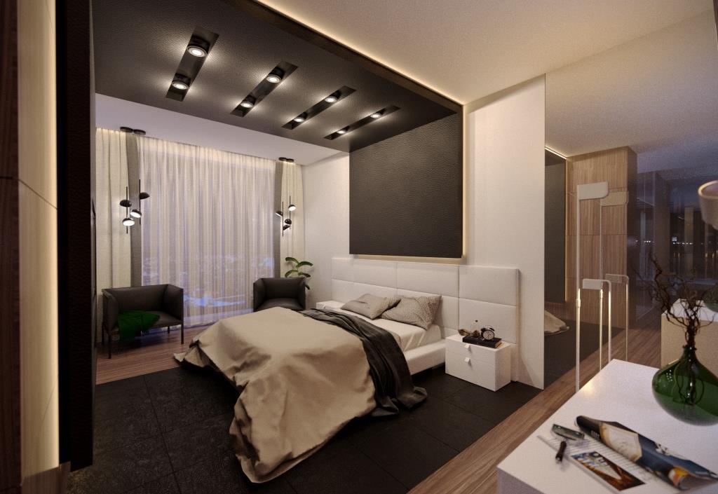 Спальня в  цветах:   Бежевый, Коричневый, Оранжевый, Розовый, Темно-коричневый.  Спальня в  стиле:   Минимализм.