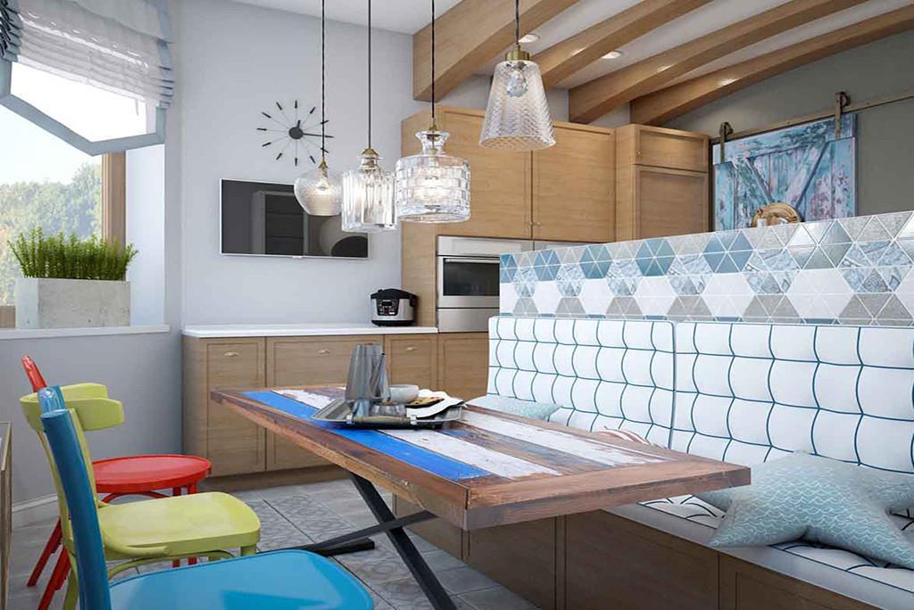 Большой стол и разделение зон позволяют не мешать друг другу и проводить время вместе. Стол в освещенной зоне позволяет насладиться видом из окна и дружно посидеть за чашечкой чая.