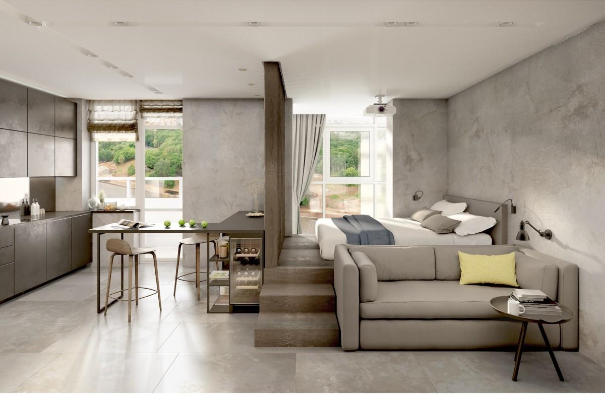 Мужской интерьер: индустриальный стиль, панорамное остекление и кровать-подиум