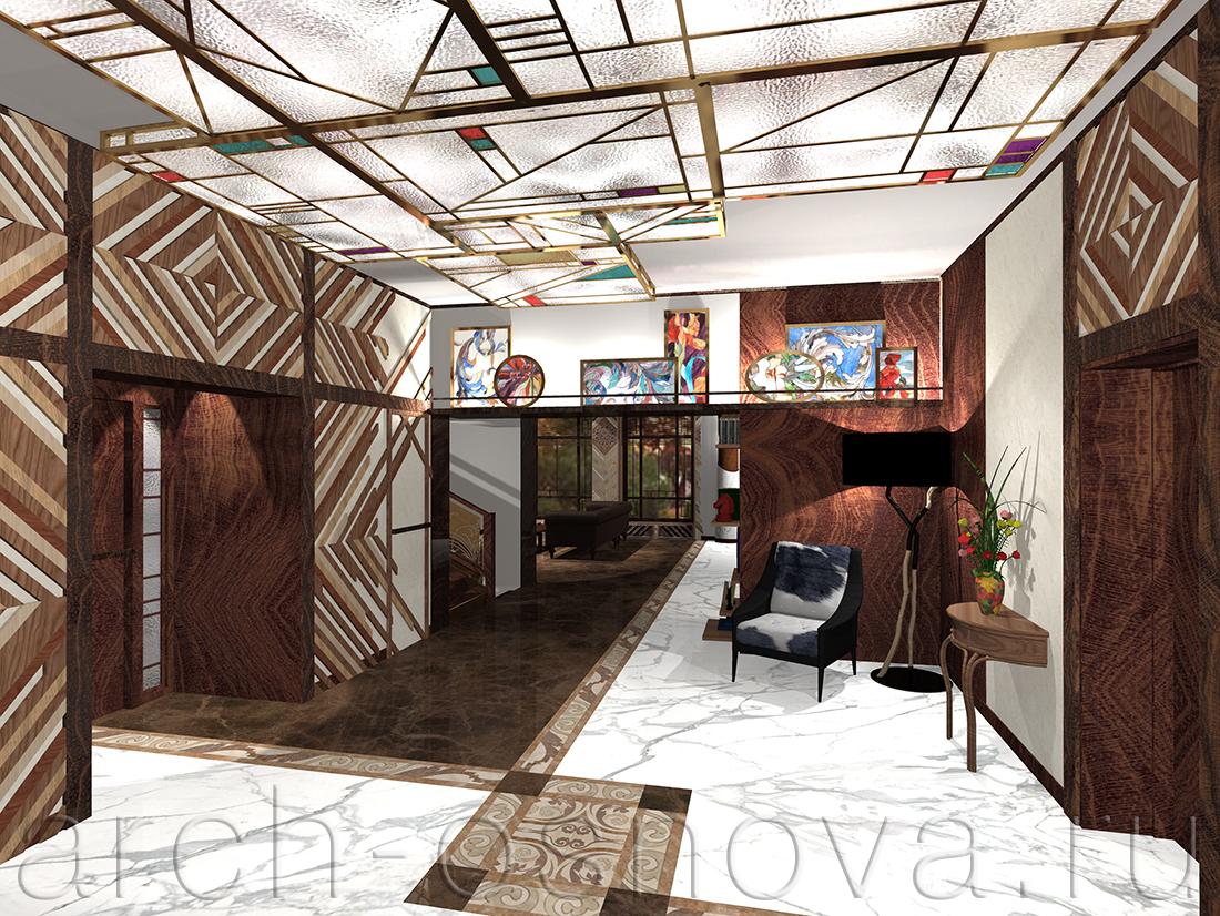 Парадный холл дома выполнен в торжественной стилистике. Эффектный геометричный потолочный витражный плафон из фактурного художественного стекла выполняет роль основного светильника.