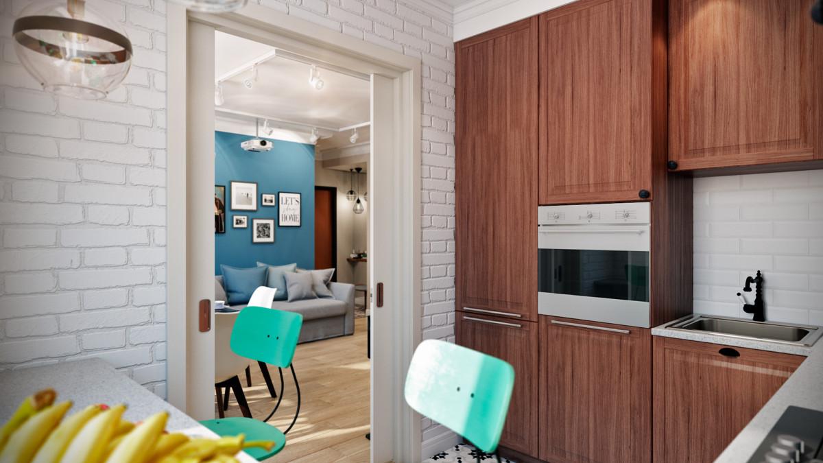 интерьер кухни с видом на гостиную