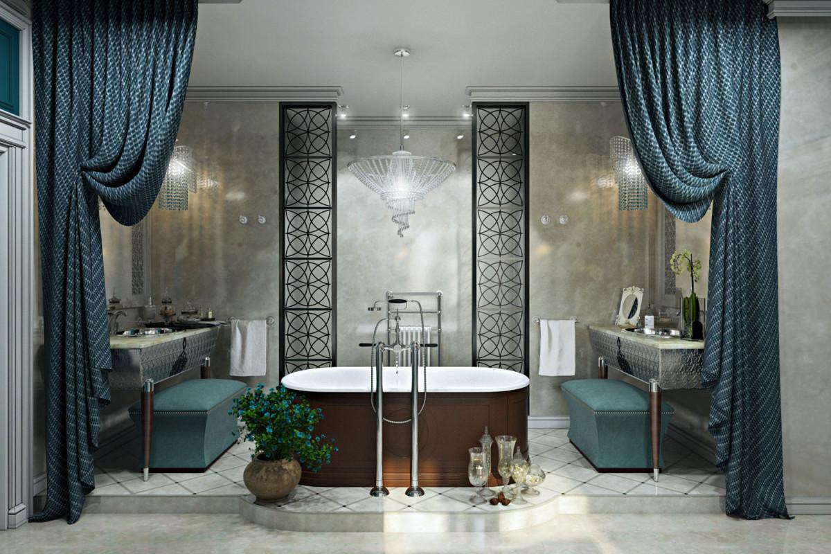 Отдавая дань классическому началу, в интерьере преобладает симметрия, используются лепные декоры, мрамор, а так же предметы наполнения в классическом стиле.