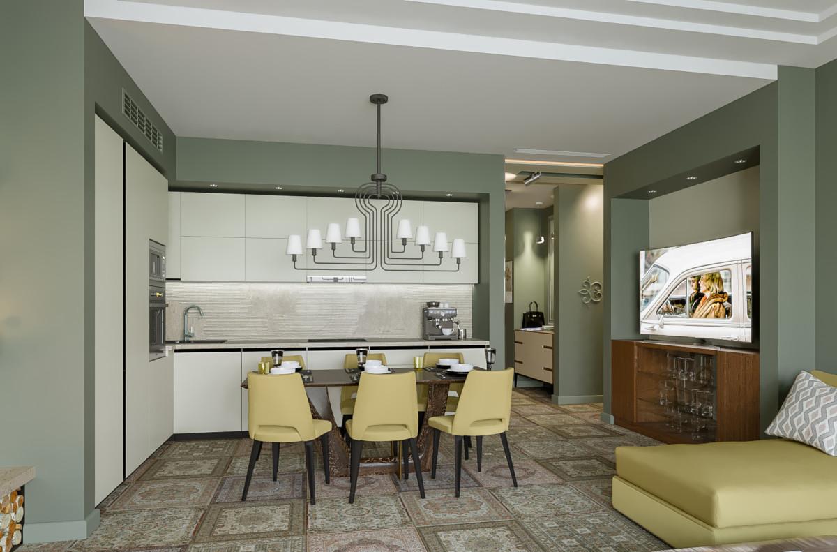 Кухня/столовая в  цветах:   Бежевый, Зеленый, Светло-серый, Темно-коричневый.  Кухня/столовая в  .