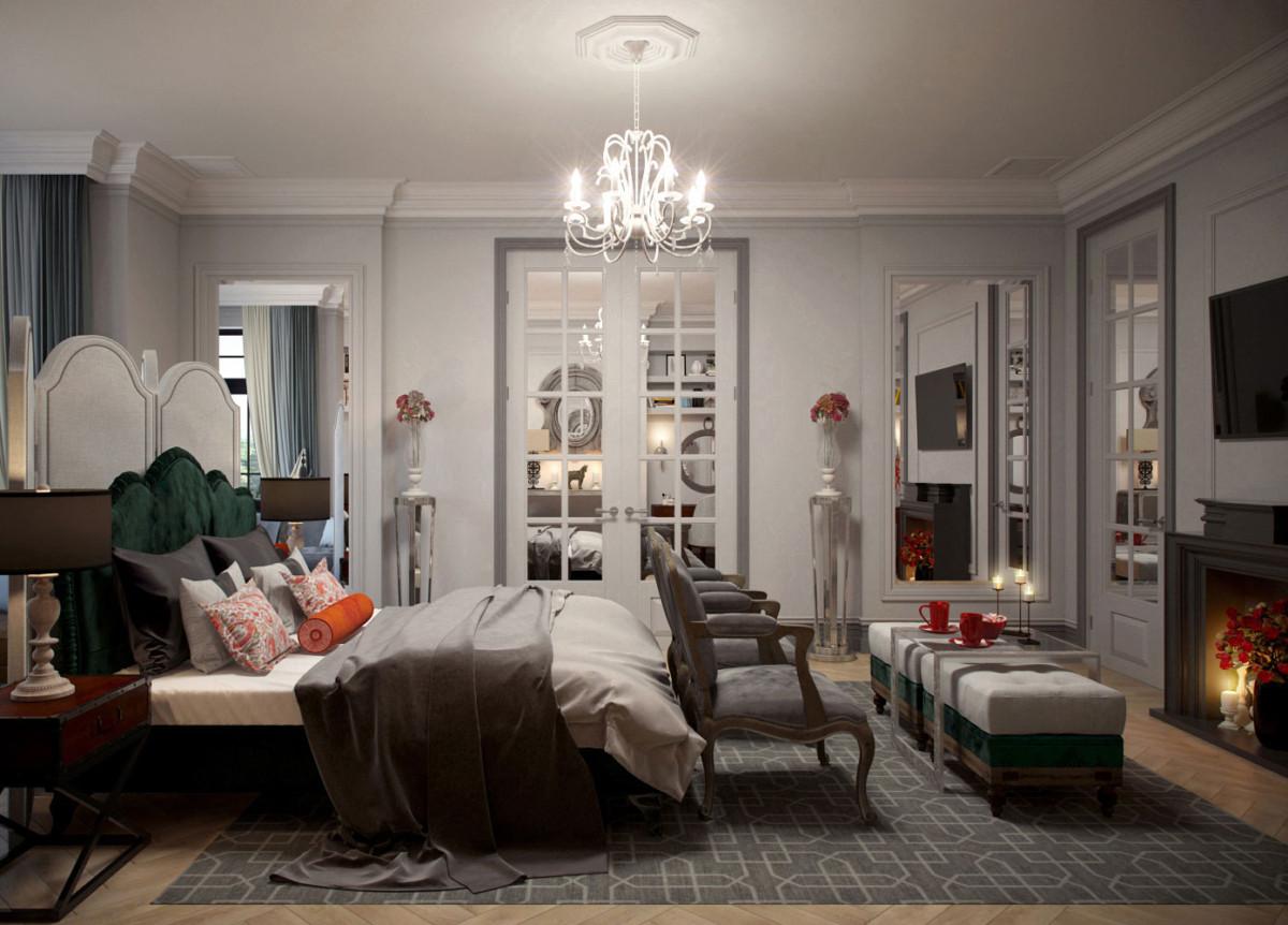 Из спальни через распашные зеркальные двери мы попадаем в ванную комнату и гардероб.