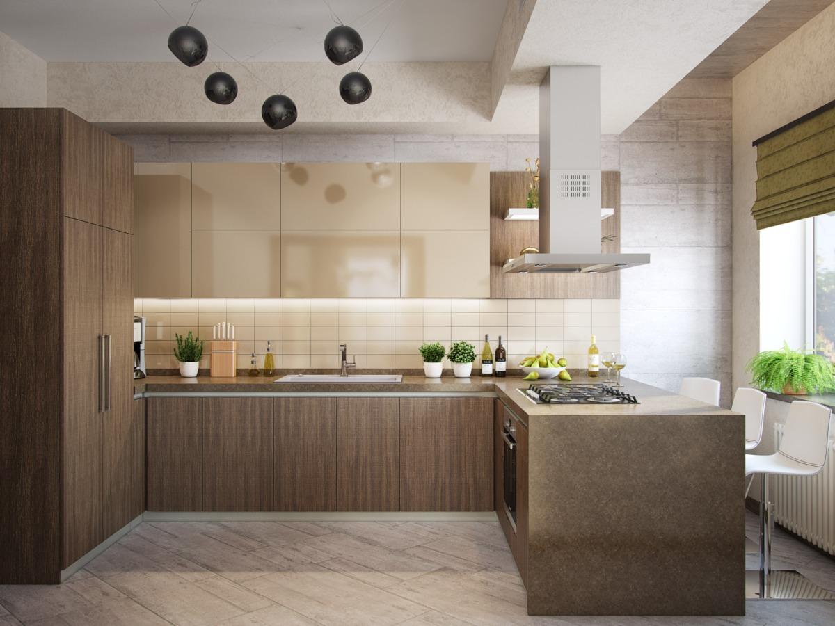 Формат кухонного гарнитура в виде буквы «Г» с полуостровом для плиты и местом для перекусов и завтраков.