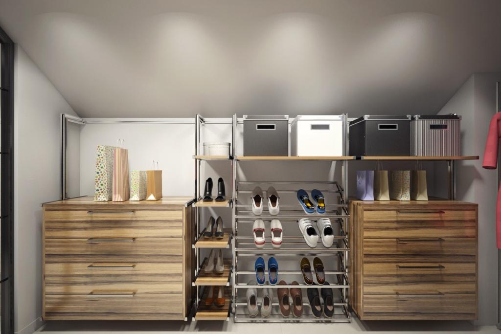 Система хранения без нагромождения полок и стеллажей — изящное решение для гардеробной.