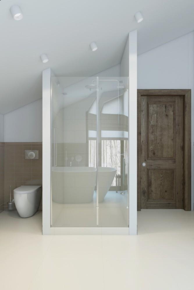 Туалет размещён, как и полагается, в укромном месте. Душевая получилась воздушной, несмотря на внушительный размер и наличие стен. Добиться этого восприятия удалось благодаря прозрачному стеклу, которое отражает дневной свет.