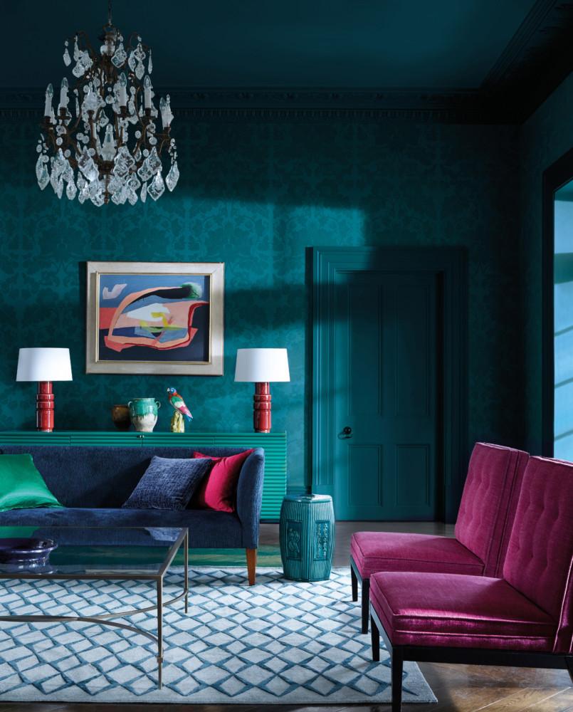 Гостиная в  цветах:   Бирюзовый, Розовый, Синий.  Гостиная в  стиле:   Эклектика.
