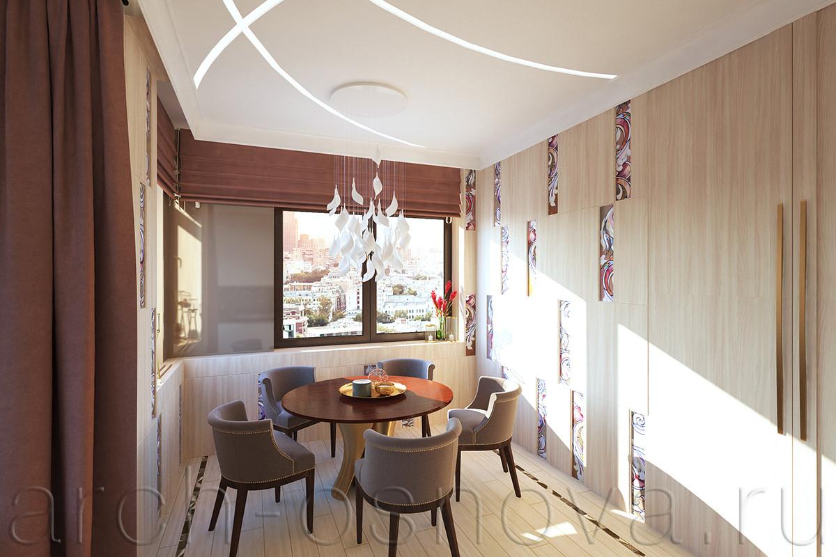 Элегантная столовая группа размещается в углубленной зоне рядом с двумя окнами. Изящная люстра с каскадом белых стеклянных лепестков расположена над столом для эффектного освещения зоны.