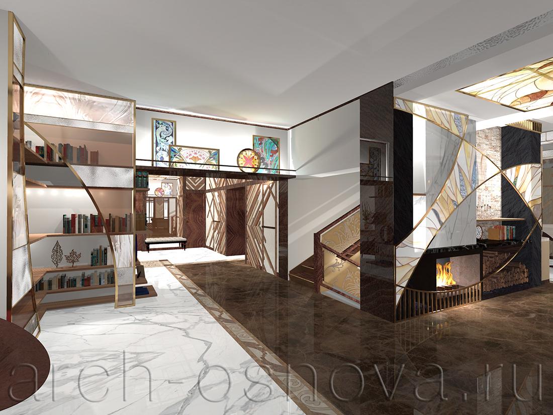 Натуральный мрамор двух оттенков на полу гостиной и парадного холла образует цельную единую композицию, объединяющую эти пространства. Скрытая подсветка применяется для эффектного освещения полок стеллажей и предметов искусства.