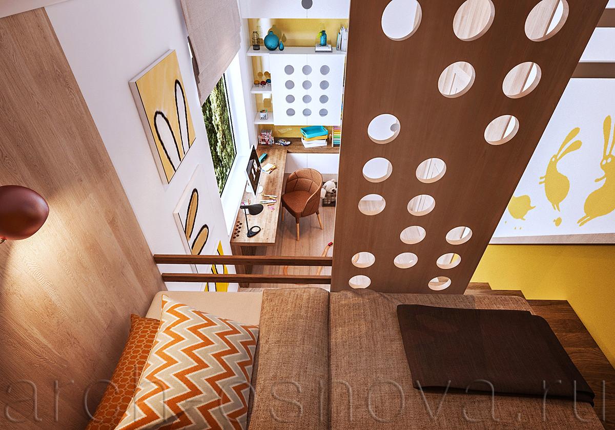 Уютное спальное место - комфортная кровать-чердак. Перфорированная деревянная панель обеспечивает необходимую безопасность, а также служит для спортивных игр  - по ней легко можно взбираться и спускаться.
