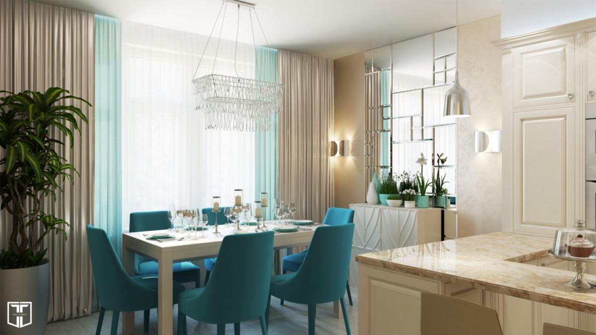 Интерьер гостиной. Чтобы увеличить полезную площадь, мы объединили в общее пространство гостиную, кухню и столовую.