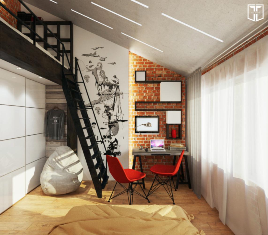 На втором уровне дополнительное место для сна и чтения книг.