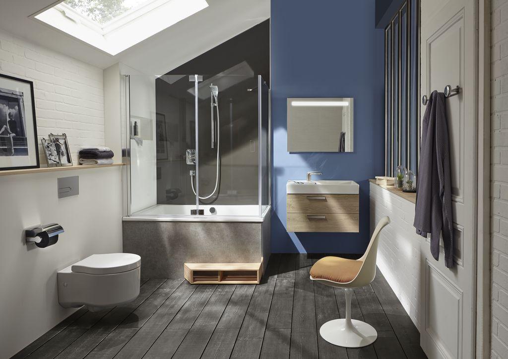 Ванная в  цветах:   Бирюзовый, Светло-серый, Серый, Фиолетовый.  Ванная в  стиле:   Минимализм.