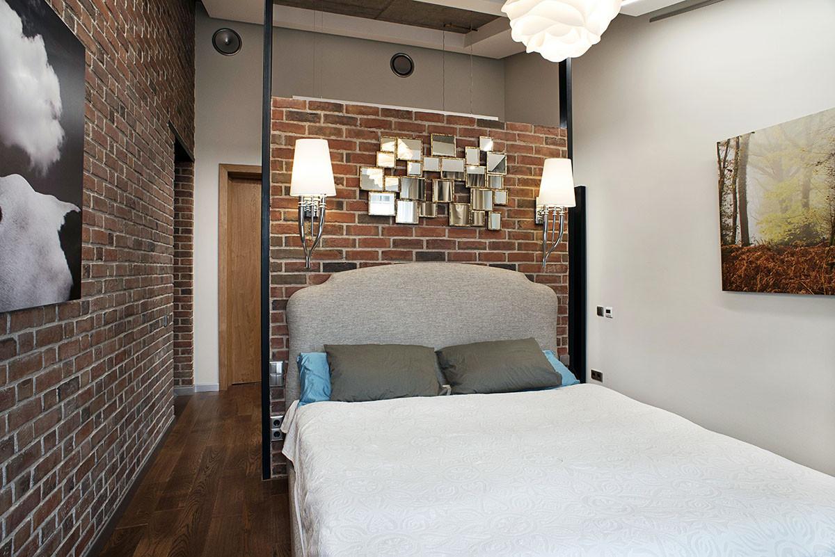 Спальня в  цветах:   Бежевый, Коричневый, Темно-коричневый.  Спальня в  стиле:   Лофт.