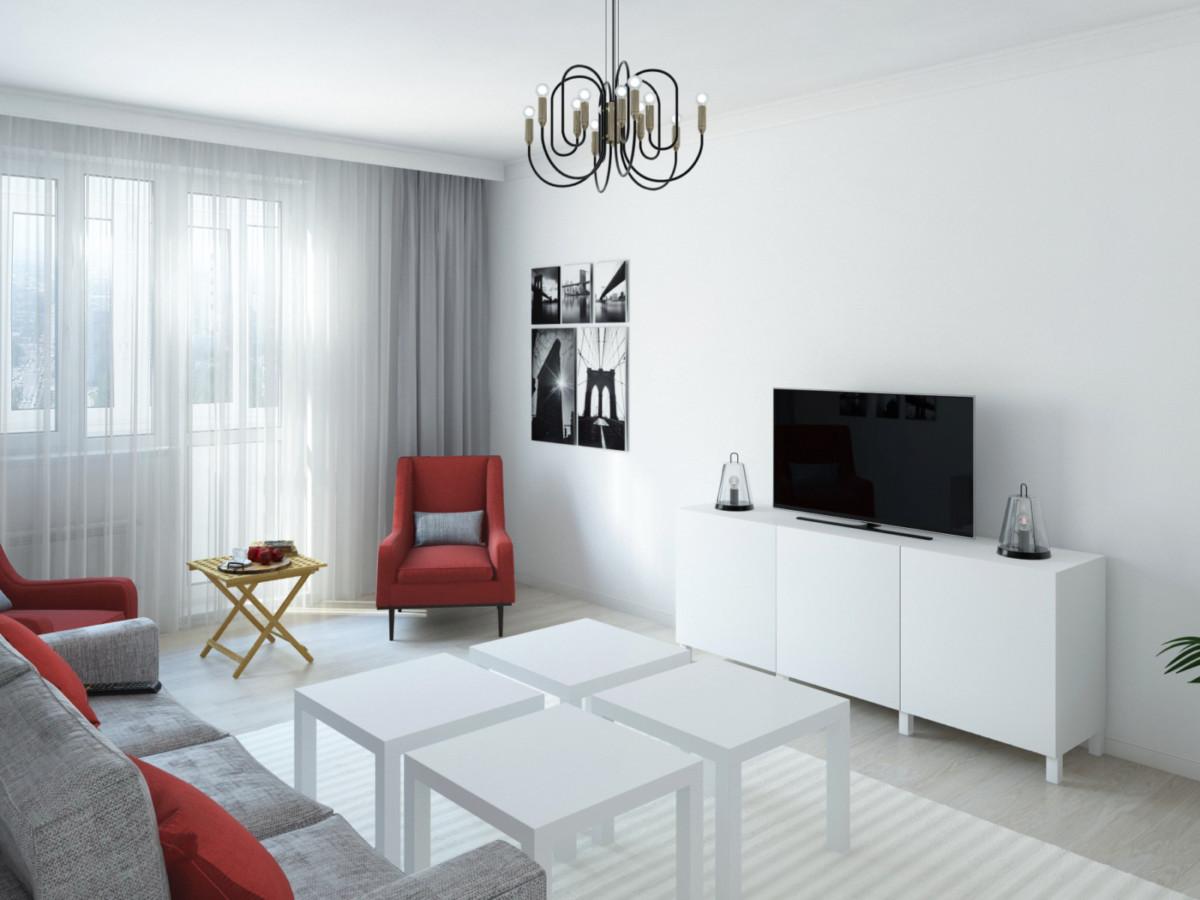 Гостиная — серый, белый и красный, минималистичные формы, контрастные сочетания.