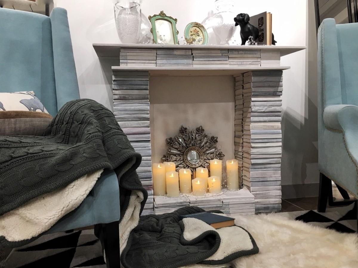 Фотозона в квартире: праздничный декоративный камин своими руками