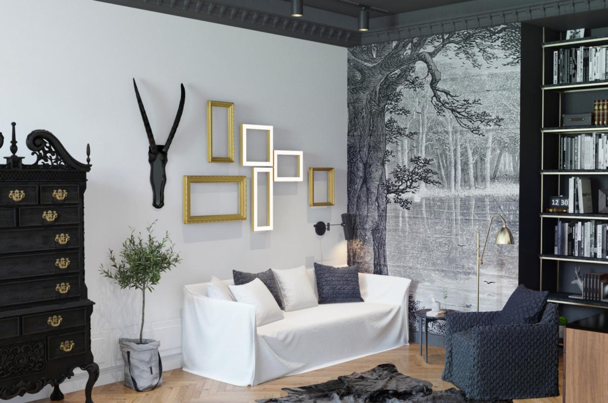 Графичный чёрно-белый интерьер трёхкомнатной квартиры
